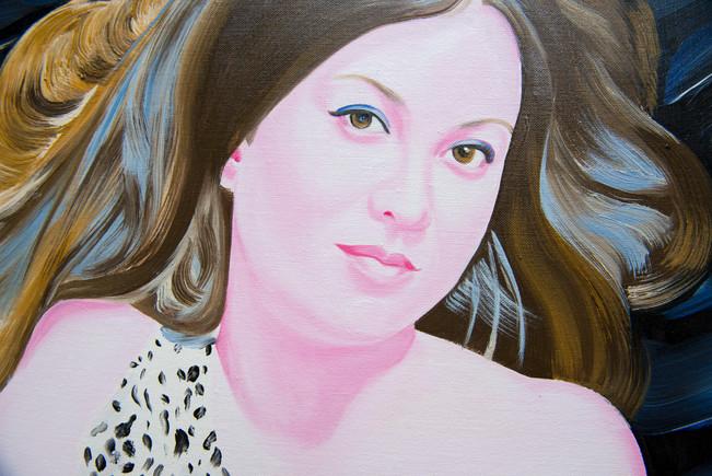 Diane (détail), 2014, huile et feuille d'aluminium sur toile /oil and aluminum leaf on canvas 195x130 cm