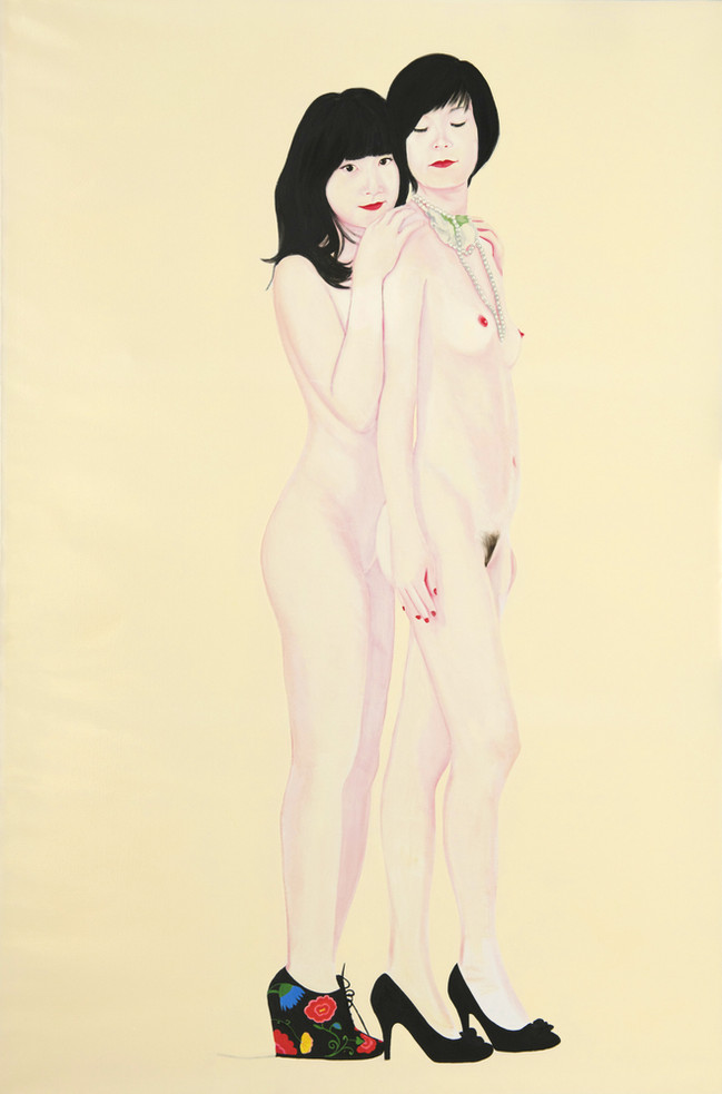 Jing and Nan 2011 huile et laque sur toile /oil and lacquer on canvas 195x130 cm