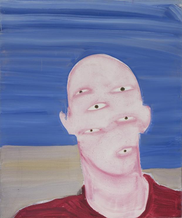 Autoportrait de mon ombre pull rouge 2005 huile sur toile /oil on canvas 55x46cm