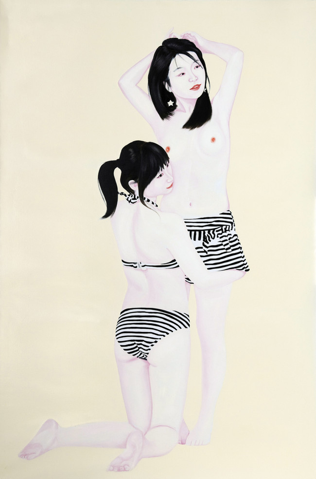 Jing and Ziqiao 2010 Huile et laque sur toile /oil and lacquer on canvas 195x130 cm