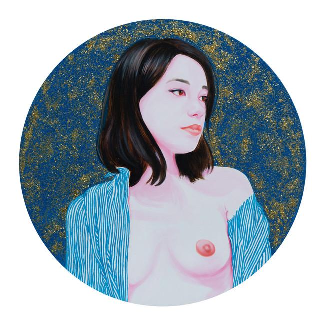 Julie 2014 huile et paillettes sur toile /oil and glitter on canvas 50x50 cm