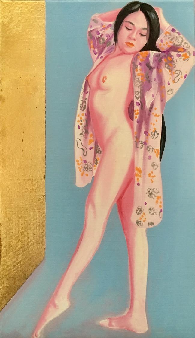 Alexa 2019 huile et feuille d'or sur toile /oil on canvas 41,5x24 cm