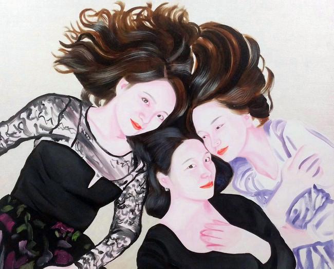 Selfie (Zhan, Jojo and Lili) 2017 huile sur toile /oil on canvas 51x61 cm