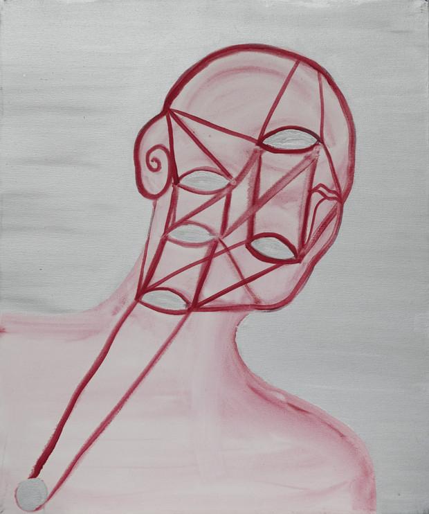Autoportrait de mon ombre 2009 huile et aluminium sur toile /oil and aluminum on canvas 55x46cm