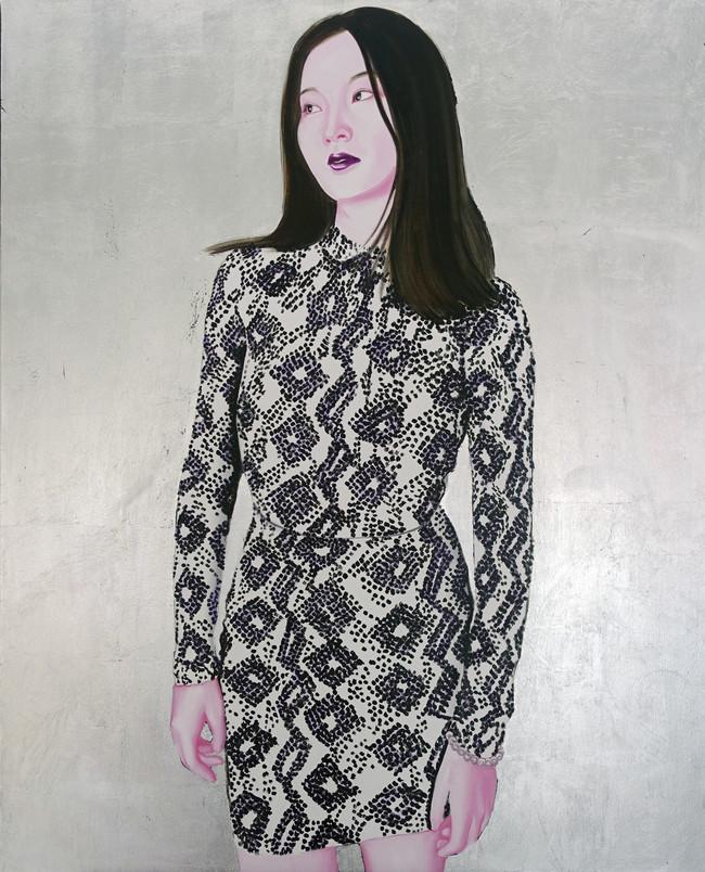 Gloria's dress  2019 huile et aluminium sur toile /oil and aluminum on canvas 100x81 cm