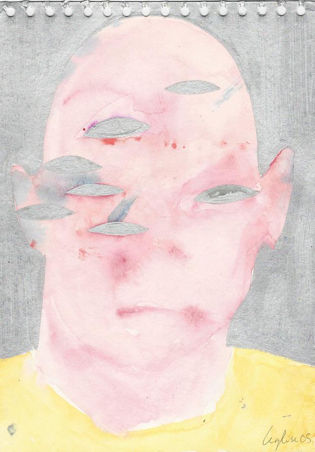 Selfportrait of my shadow 2005 huile et peinture à l'aluminium sur papier /oil and aluminum paint on paper 29,5 x 21 cm