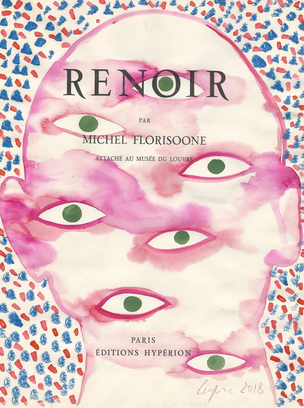 Selfportrait of my shadow Renoir 2018 aquarelle sur une page de livre /watercolor on a page of a book 33 x 25 cm