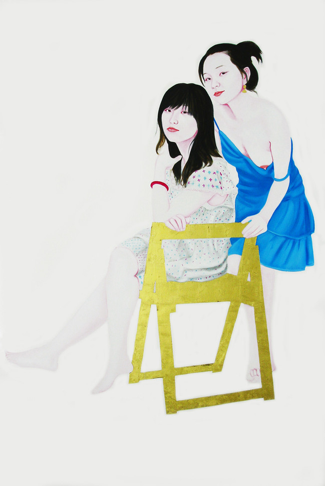 Chenxi and Ziqiao 2011 huile, feuille d'or et glycero sur toile /oil, gold leaf and glycero on canvas 195x130 cm