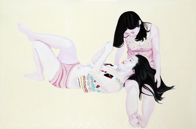 Les deux amies 2011 huile et laque sur toile /oil and lacquer on canvas  130x195 cm