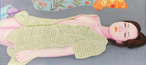 Ophélie on her bed 2020 huile sur toile /oil on canvas 28x60 cm