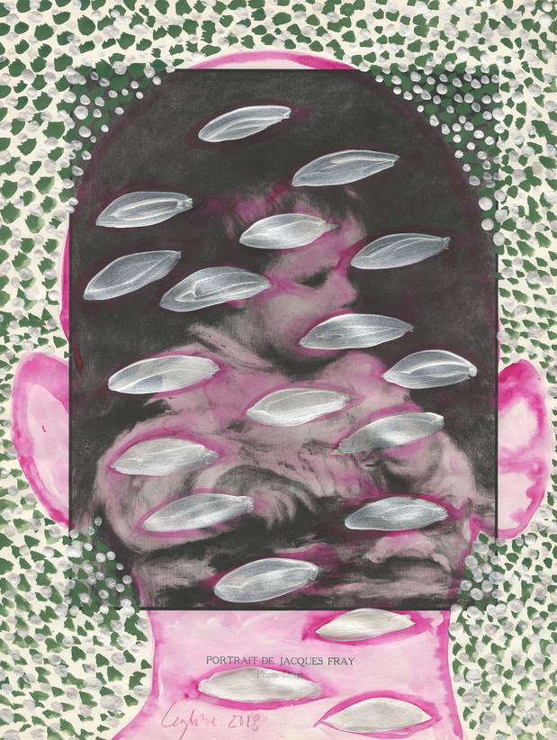 Selfportrait of my shadow baby 2018 aquarelle et peinture iridescente sur une page de livre /watercolor and iridescent paint on a page of a book 33 x 25 cm