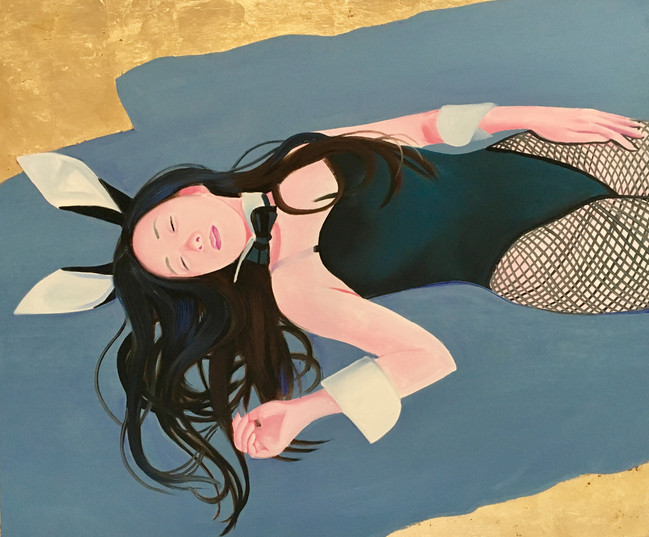 Kanaria sleeping 2019 huile et feuille d'or sur toile / oil and gold leaf on canvas  46x55 cm