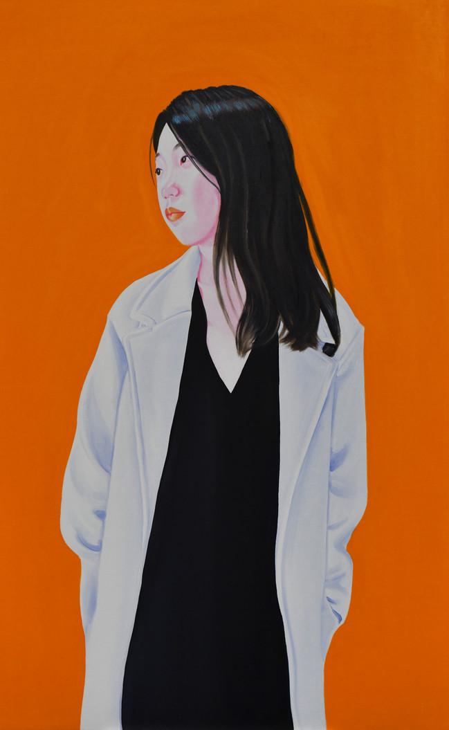 Huizi with coat 2018, huile sur toile /oil on canvas 116x72 cm