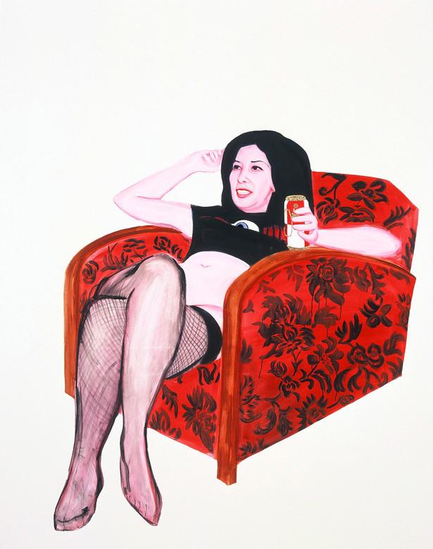 Deborah in her armchair 2006 huile et glycero sur toile /oil and glycero on canvas 146x114 cm