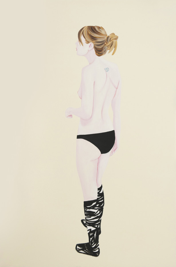 Black and white socks 2010 Huile et laque sur toile /oil and lacquer on canvas  195x130 cm
