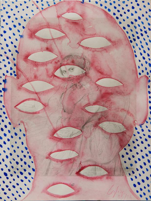 Selfportrait of my shadow, woman in head 2014 Aquarelle et encre de Chine sur page de livre /watercolor and Chinese ink on a book page 30,2x23cm, collection particulière