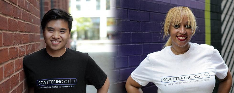 Modeling Scattering CJ t-shirts