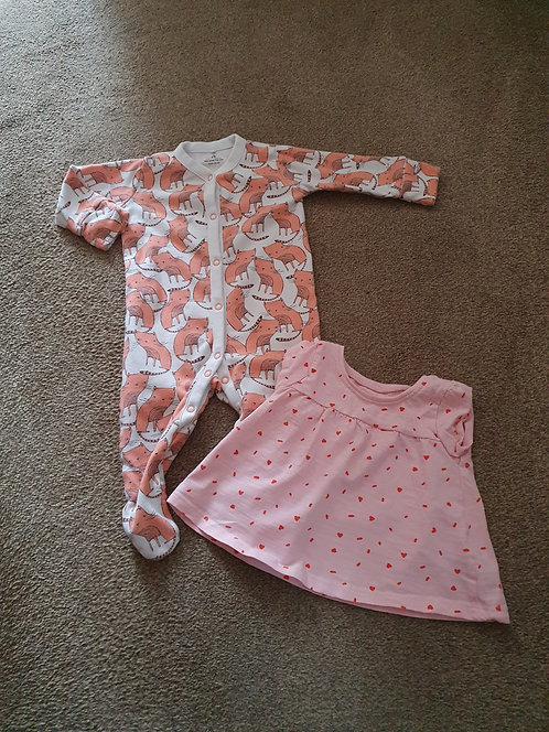 3 to 6 mths cat s/suit love heart dress both next