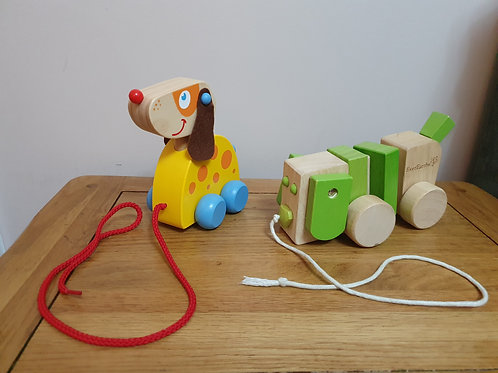 Dog wood pull along toys