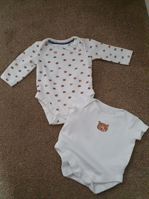 0 to 3 mths teddy bear vest top x 2
