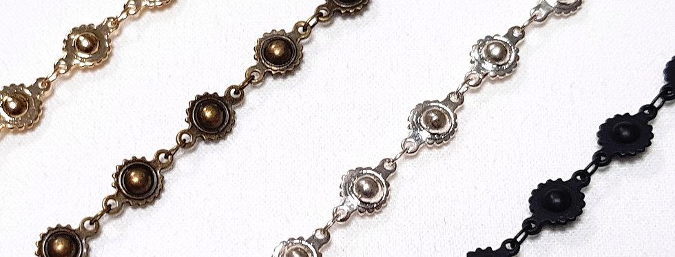 Bracelet aux maillons 'Boules Dentelées', couleur or, argent, bronze ou noir mat