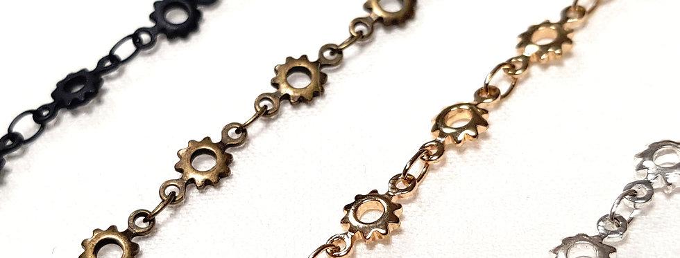 Tour de cou aux maillons 'Engrenages': couleur or, argent, bronze ou noir mat