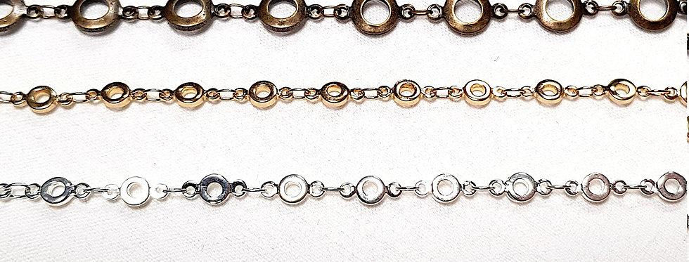 Bracelet aux maillons 'rondelles', couleur or, argent, bronze ou noir