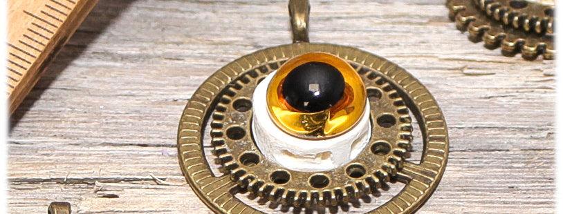 Grand pendentif  Roue et Rouage, avec  sa chaîne