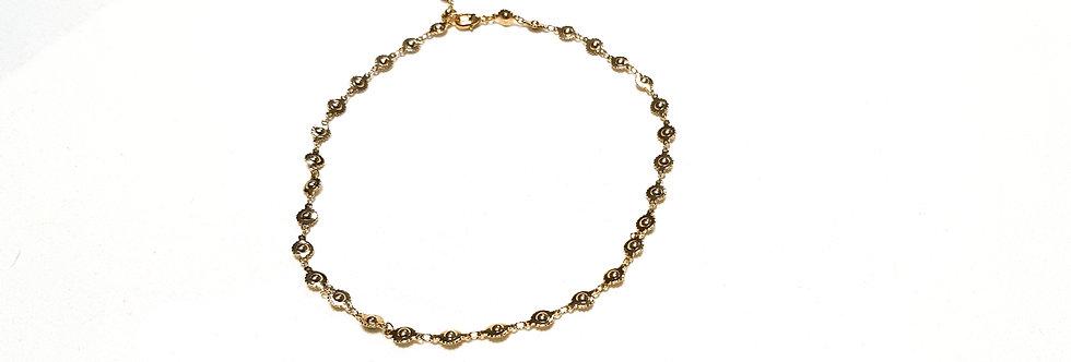 Tour de cou aux maillons 'Boules Dentelées', couleur: or, argent, bronze ou noir