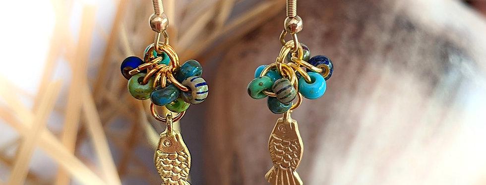 """Boucles d'oreilles """"petites perles et poisson d'or"""""""