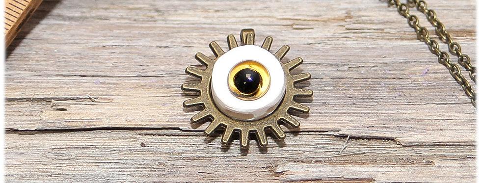 Pendentif moyen 'Oeil et Engrenage', avec sa chaîne