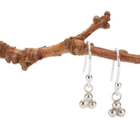 India dangly ball earrings in silver