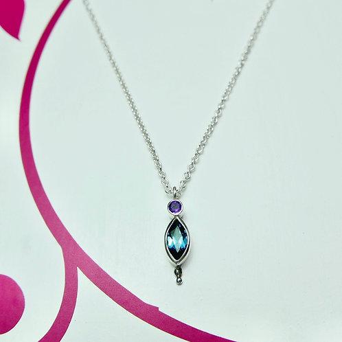 London blue topaz and amethyst pendant