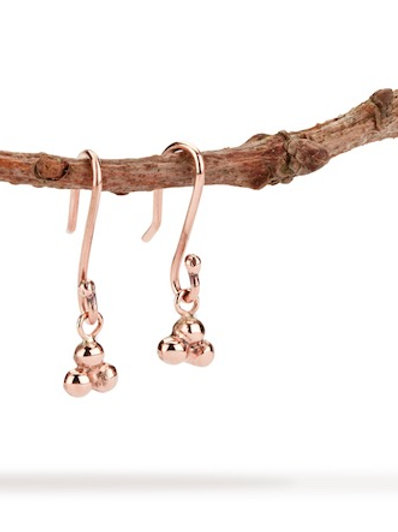 India dangly ball earrings in 9ct rose gold
