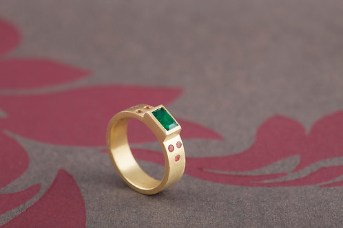 18ct yellow gold with emerald and pink tourmalines