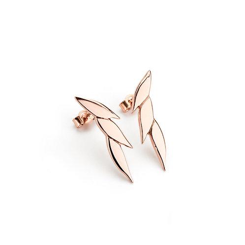 Swoosh single drop earstuds in 9ct rose gold