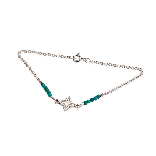 Anahita 2 bracelet in silver with turquoise beads