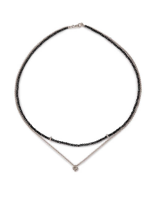 India double necklace in silver and hematite