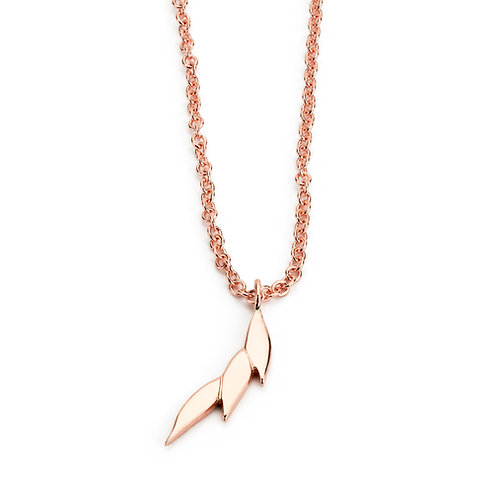 Swoosh single drop necklace 9ct rose gold