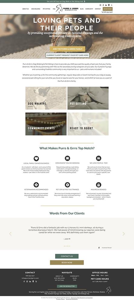 purrs & grrrs dog walking and pet sitting website design homepage