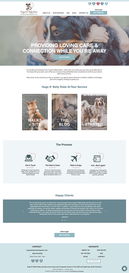 hugsnbellyrubs website design for pet businesses