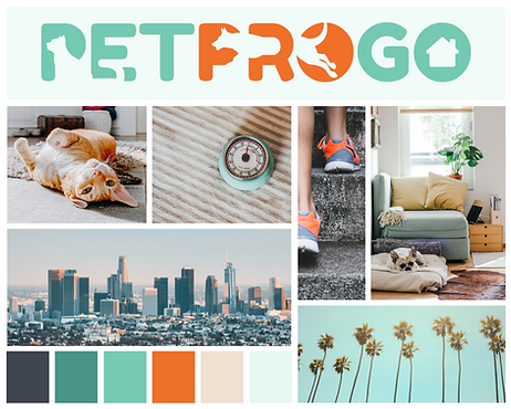 PETPROGO Mood Board branding dog walker and pet sitter in los angeles