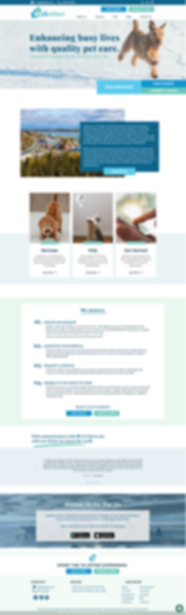 yksitter dog walker and pet sitter Canada website homepage design