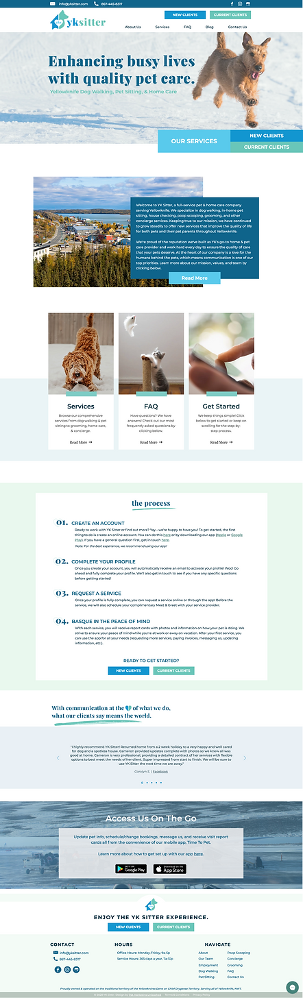 yksitter dog walker and pet sitter Canada website homepage design