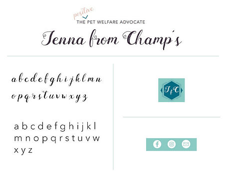 jenna from champ's branding typography project pet industry blogger