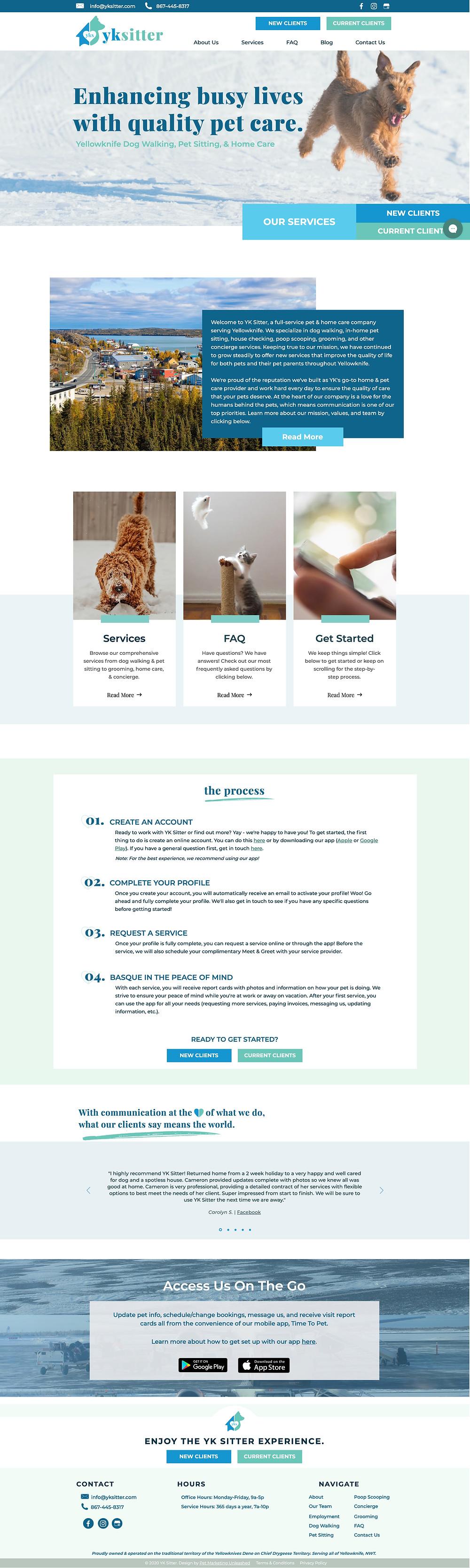 YKSitter Yellowknife Canada Pet Sitter Website Design HomePage | Pet Marketing Unleashed