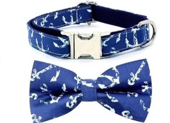 Nautical Dog Bow Tie and Leash Set
