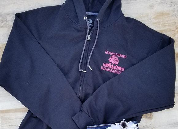 Unisex Zip Sweatshirt Black w Pink