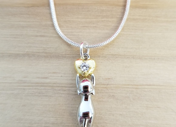 Heartfelt Kitty-Sterling Silver and Cubic Zirconia