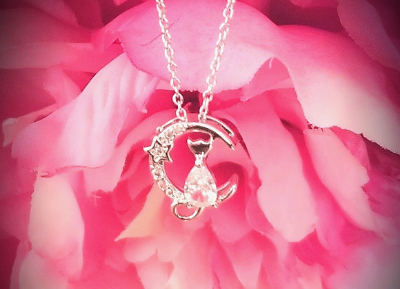 The Sparkling Night Cat- Cubic Zirconia and Sterling Silver